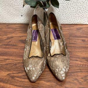 Phyllis Poland Gold Lace Mesh Vintage Style Heels